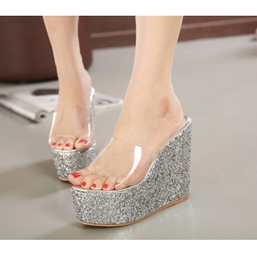 Luxury sexy all-match women wedge high heels sandals shoes slippers Silver euro 35