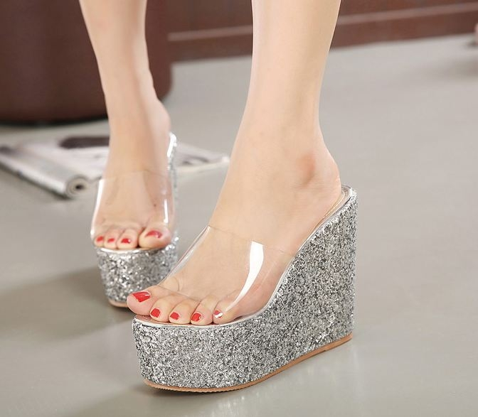 Luxury sexy all-match women wedge high heels sandals shoes slippers Silver euro 36