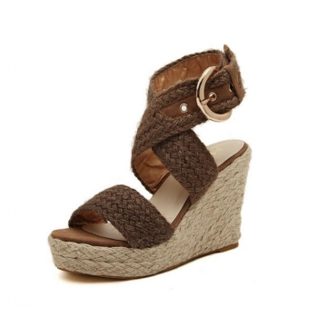 thick base open toe waterproof women's hemp rope wedges Rome sandals shoes brown euro 35