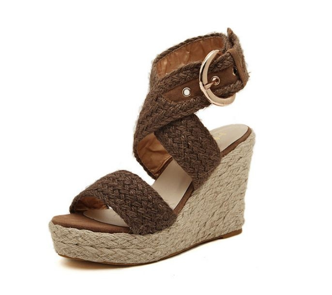 thick base open toe waterproof women's hemp rope wedges Rome sandals shoes brown euro 39
