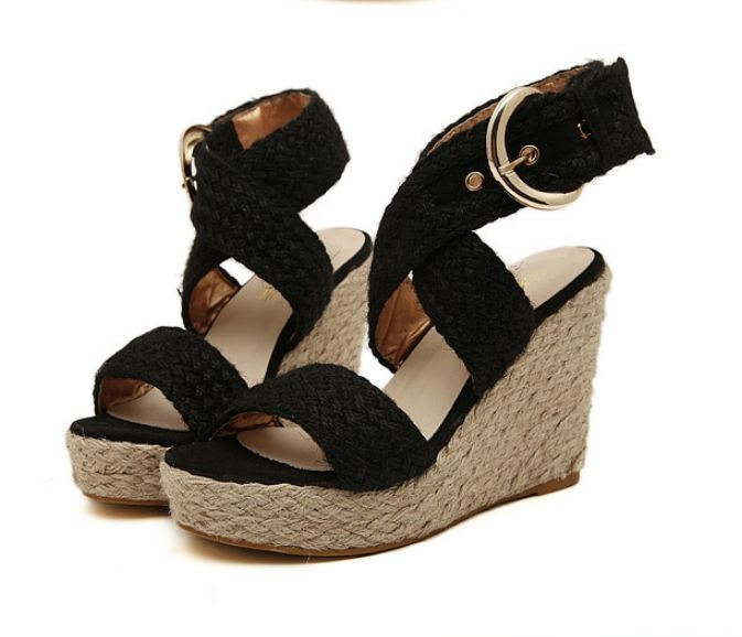thick base open toe waterproof women's hemp rope wedges Rome sandals shoes black euro 37