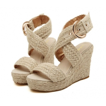 thick base open toe waterproof women's hemp rope wedges Rome sandals shoes apricot euro 39