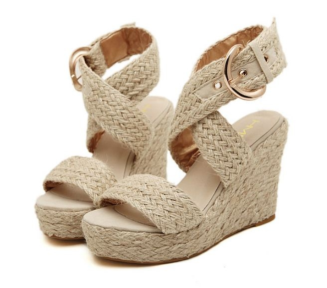 thick base open toe waterproof women's hemp rope wedges Rome sandals shoes apricot euro 36