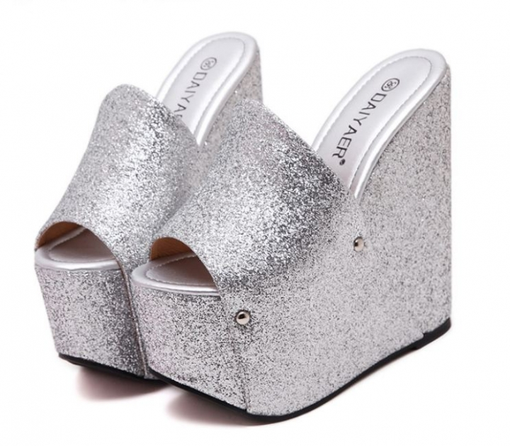 f63adaf6d9b Europe nightclub women sexy sequins 17CM high thick a word sandals slippers  shoes silver euro 38