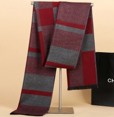Autumn winter men's Korean striped scarves casual warm wool thicken shawls scarf Red-grey One size