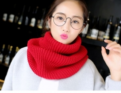 Korean autumn winter scarves pure color women wool knitted thick warm shawls scarf red