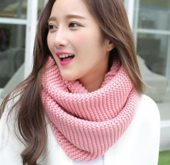 Korean autumn winter scarves pure color women wool knitted thick warm shawls scarf pink