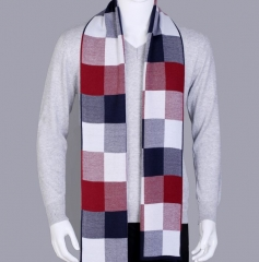 Men's Autumn Winter England Tartan Young male Students Knit Scarf shawls scarves red one size