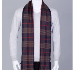 New men's warm thick Korean plaid long knit collar students business casual shawls scarf coffee one size