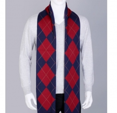 Winter men's plaid scarf casual Korean business students knitted shawls scarves coffee one size