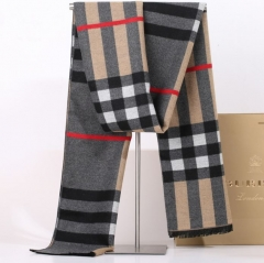 Autumn winter cashmere men's students Korean plaid wool collar shawls scarves grey one size