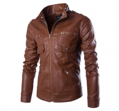 New style multi-pocket men's leather jacket British stand collar motor leather coats jackets dark-coffee xxl