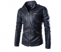 New style multi-pocket men's leather jacket British stand collar motor leather coats jackets black 3xl