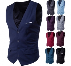 Fashion men business casual sleeveless vest waistcoat groomsman socks Purple 6XL Normal