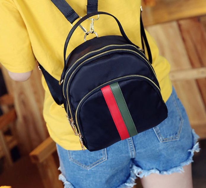 Fashion shoulder bag Oxford cloth shell backpack female travel leisure nylon shoulder bags red-green stripe one size