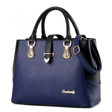 European fashion luxury female single shoulder bags top leather handbags dark blue one size