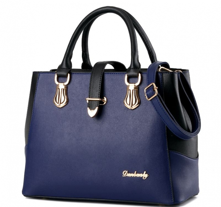 European fashion luxury female single shoulder bags top leather handbags dark blue one size
