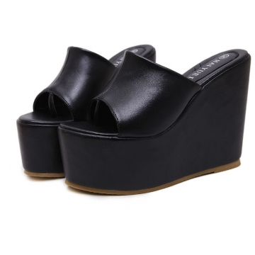 Summer Europe fashion thick bottom muffin waterproof platform wedge sandals beach slippers shoes black euro 34