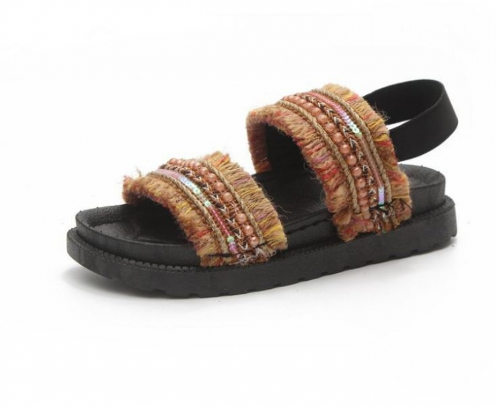 fd6764cdecaf New style female flat sole weave open toe casual beach sandals shoes yellow  euro 35