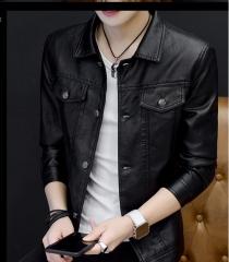 Fashion Korean men big size personality all-match slim motor leather jackets coats black m