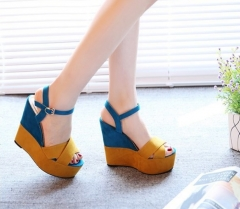 Fashion female thick bottom platform fish mouth high heels wedge Rome sandals shoes yellow euro 37