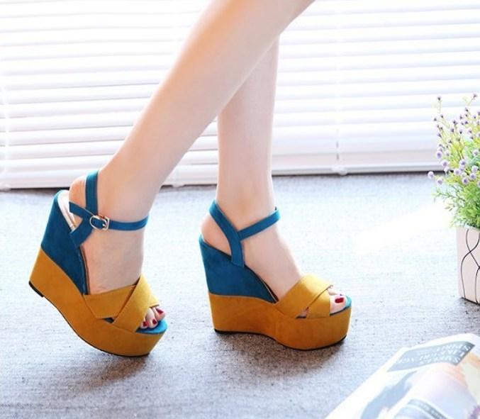 67cc46aba3a Item specifics  Brand  Fashion female thick bottom platform fish mouth high  heels wedge ...