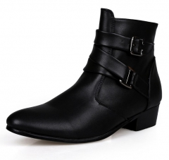 Luxury men pointed head high-cut buckle England retro short ankle Martin leather boots shoes black euro 39