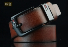 Fashion luxury men retro wind students all-match long leather waist belts coffee 110-115cm
