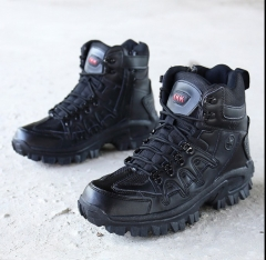 Winter fashion men high-cut anti-slip outdoor desert military short army boots shoes black euro 40