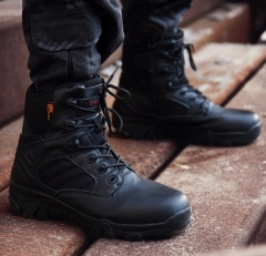 Fashion men high-cut lace-up wear resistant large size desert outdoor military army boots shoes black euro 39