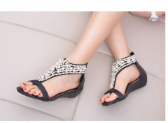 Women female toe clip Bohemian wind beading small wedge sweet sandals shoes black euro 37