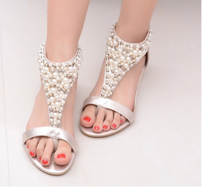 bc75152331 Women female toe clip Bohemian wind beading small wedge sweet sandals shoes  gold euro 35