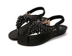 New style girls women flat sole toe-clips beading beaded retro Rome gladiator sandals shoes black euro 37