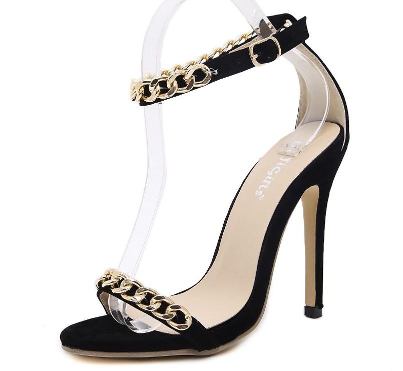 f6ad637e6e8e Fashion female women a-word rhinestone chain thin high heels elegant ...