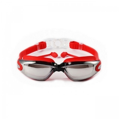 ISEEN Brand Swim Goggles for Adult Men Women Children, Anti Fog UV Protection with Ear Plugs Red 18cm-6cm-5cm
