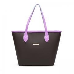 ISEEN Brand Pu Leather Tote Shoulder Handbag with Metal Decoration for Women Purplr 44cm-13cm-29cm