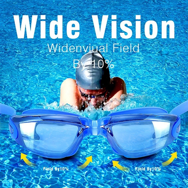 ISEEN Brand Swim Goggles for Adult Men Women Children, Anti Fog UV Protection with Ear Plugs Blue 18cm-6cm-5cm