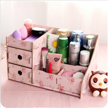 DoubleBetter DIY Wooden Desktop Cosmetics Storage Box for Love Tidy and Beautiful Woman Camellia Big Size