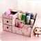 ISEEN Brand DIY Wooden Desktop Cosmetics Storage Box for Love Tidy and Beautiful Woman Camellia Big Size