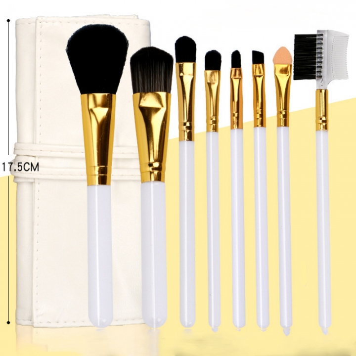 ISEEN Brand Professional Makeup Brush Set 8 Pieces white