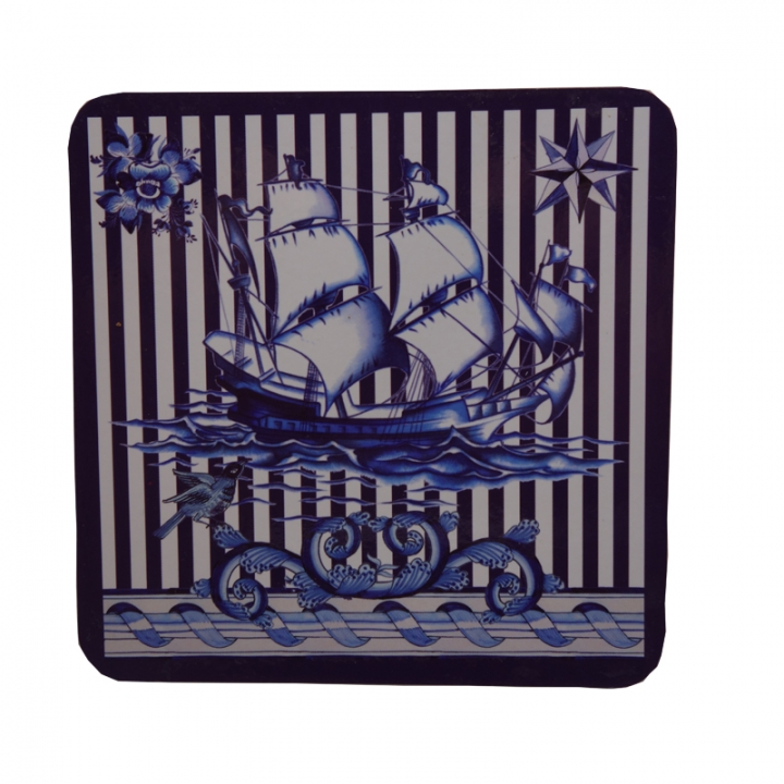 ISEEN Brand Cork Coaster with Voyage Pattern, Set of 4 Blue 10cm-10cm