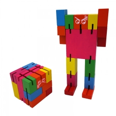 ISEEN Brand Brain Teaser Puzzle,Wooden Magic Cube Robot -MultiColour multi-colour 6cm*6cm*6cm
