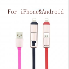 ISEEN Brand Retractable 2 in 1 Multiple USB Charging&Data Cable for Android and iPhone White