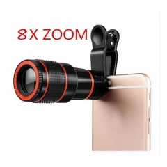 ISEEN Brand 8X Zoom Mobile Phone Telescope Lens Telephoto External Smart phone Camera Lens black 8.5cm-3cm-3cm
