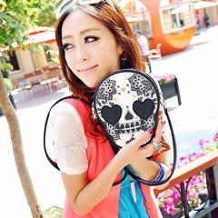 ISEEN Brand Skull Skeleton Flower Single Shoulder Bag for being Leisure black 16_20_5cm