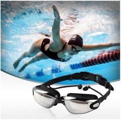 ISEEN Brand Swim Goggles for Adult Men Women Kids Child, Anti Fog UV Protection with Ear Plugs black 18cm-6cm-5cm