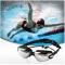 ISEEN Brand Swim Goggles for Adult Men Women Kids Child, Anti Fog UV Protection with Ear Plugs black 18cm-6cm-5cm