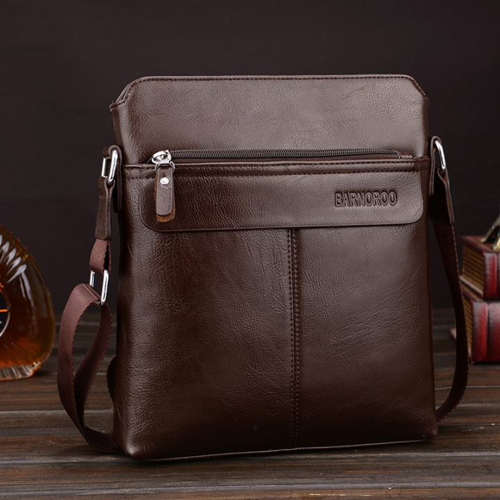 e9519f5b9779 ISEEN Brand shoulders bag Messenger Bags Business Bag for Men  Multifunctional PU Leather deep brown 29cm