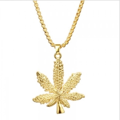 DoubleBetter golden necklace leaf shape for young people lady and man golden 4cm*4.7cm