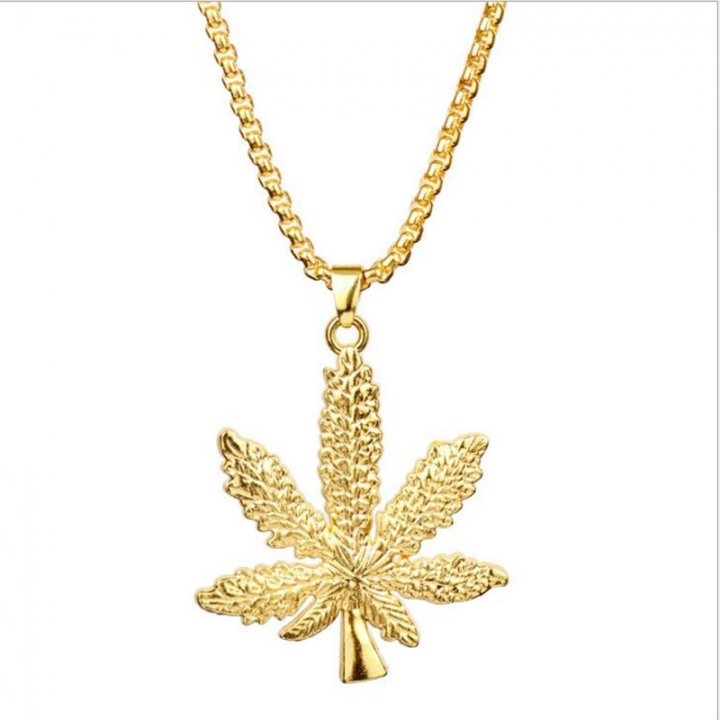 ISEEN Brand golden necklace leaf shape for young people lady and man golden